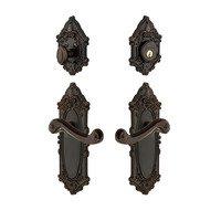 Grandeur Door Hardware - Grande Victorian - Handleset - Grande Victorian Plate With Newport Lever & Matching Deadbolt In Satin Nickel