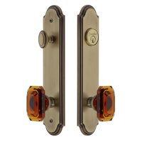 Grandeur Door Hardware - Arc Tall Plate Handlesets - Arc Tall Plate Handleset with Baguette Amber Knob in Satin Nickel