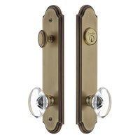 Grandeur Door Hardware - Arc Tall Plate Handlesets - Arc Tall Plate Handleset with Provence Knob in Satin Nickel