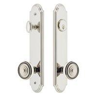 Grandeur Door Hardware - Arc Tall Plate Handlesets - Arc Tall Plate Handleset with Soleil Knob in Satin Nickel