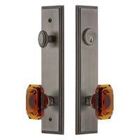 Grandeur Door Hardware - Carre Tall Plate Handlesets - Tall Plate Handleset with Baguette Amber Knob in Satin Nickel