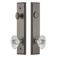 Grandeur Door Hardware - Carre Tall Plate Handlesets - Tall Plate Handleset with Biarritz Knob in Satin Nickel