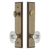 Grandeur Door Hardware - Carre Tall Plate Handlesets - Tall Plate Handleset with Biarritz Knob in Vintage Brass