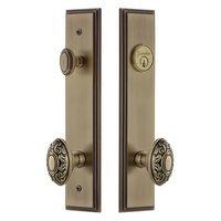 Grandeur Door Hardware - Carre Tall Plate Handlesets - Tall Plate Handleset with Grande Victorian Knob in Satin Nickel