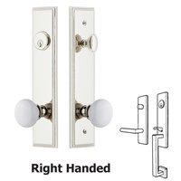 Grandeur Door Hardware - Carre Tall Plate Handlesets - Tall Plate Handleset with Hyde Park Knob in Satin Nickel