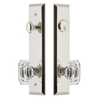 Grandeur Door Hardware - Fifth Avenue Tall Plate Handlesets - Tall Plate Handleset with Baguette Clear Crystal Knob in Polished Nickel