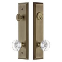 Grandeur Door Hardware - Fifth Avenue Tall Plate Handlesets - Tall Plate Handleset with Bordeaux Knob in Satin Nickel