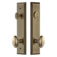 Grandeur Door Hardware - Fifth Avenue Tall Plate Handlesets - Tall Plate Handleset with Eden Prairie Knob in Satin Nickel