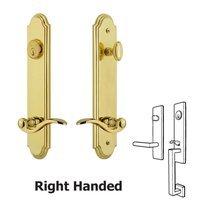 Grandeur Door Hardware - Arc Tall Plate Handlesets - Tall Plate Handleset with Bellagio Right Handed Lever in Lifetime Brass