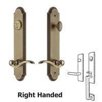 Grandeur Door Hardware - Arc Tall Plate Handlesets - Arc Tall Plate Handleset with Bellagio Left Handed Lever in Satin Nickel