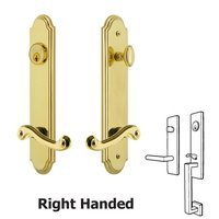 Grandeur Door Hardware - Arc Tall Plate Handlesets - Arc Tall Plate Handleset with Newport Left Handed Lever in Satin Nickel