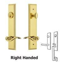 Grandeur Door Hardware - Carre Tall Plate Handlesets - Tall Plate Handleset with Bellagio Left Handed Lever in Satin Nickel