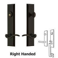 Grandeur Door Hardware - Fifth Avenue Tall Plate Handlesets - Tall Plate Handleset with Bellagio Right Handed Lever in Timeless Bronze