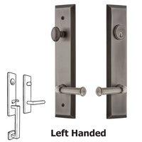 Grandeur Door Hardware - Fifth Avenue Tall Plate Handlesets - Tall Plate Handleset with Georgetown Left Handed Lever in Satin Nickel