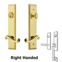 Grandeur Door Hardware - Fifth Avenue Tall Plate Handlesets - Tall Plate Handleset with Newport Right Handed Lever in Lifetime Brass