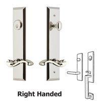 Grandeur Door Hardware - Fifth Avenue Tall Plate Handlesets - Tall Plate Handleset with Portofino Left Handed Lever in Satin Nickel