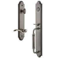 Grandeur Door Hardware - Arc Full Plate Handleset - One-Piece Handleset with C Grip and Bellagio Right Handed Lever in Antique Pewter