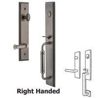 Grandeur Door Hardware - Carre Full Plate Handleset - One-Piece Handleset with C Grip and Georgetown Left Handed Lever in Satin Nickel