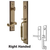 Grandeur Door Hardware - Carre Full Plate Handleset - One-Piece Handleset with C Grip and Newport Right Handed Lever in Vintage Brass
