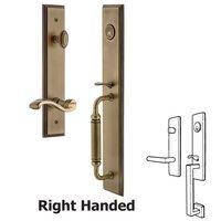 Grandeur Door Hardware - Carre Full Plate Handleset - One-Piece Handleset with C Grip and Portofino Left Handed Lever in Satin Nickel