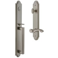 Grandeur Door Hardware - Arc Full Plate Handleset - Arc One-Piece Handleset with D Grip and Portofino Left Handed Lever in Antique Pewter