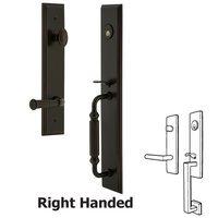 Grandeur Door Hardware - Carre Full Plate Handleset - One-Piece Handleset with F Grip and Georgetown Left Handed Lever in Satin Nickel