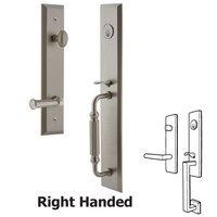 Grandeur Door Hardware - Fifth Avenue Full Plate Handleset - One-Piece Handleset with F Grip and Georgetown Left Handed Lever in Satin Nickel