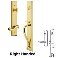 Grandeur Door Hardware - Fifth Avenue Full Plate Handleset - One-Piece Handleset with S Grip and Newport Right Handed Lever in Lifetime Brass