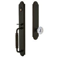 Grandeur Door Hardware - Arc Full Plate Handleset - Arc One-Piece Dummy Handleset with C Grip and Fontainebleau Knob in Satin Nickel