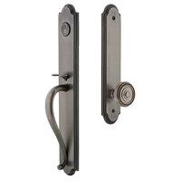 Grandeur Door Hardware - Arc Full Plate Handleset - Arc One-Piece Dummy Handleset with S Grip and Soleil Knob in Satin Nickel