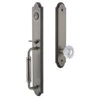 Grandeur Door Hardware - Arc Full Plate Handleset - Arc One-Piece Dummy Handleset with C Grip and Versailles Knob in Satin Nickel