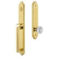 Grandeur Door Hardware - Arc Full Plate Handleset - One-Piece Dummy Handleset with D Grip and Versailles Knob in Lifetime Brass