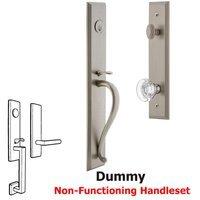 Grandeur Door Hardware - Carre Full Plate Handleset - One-Piece Dummy Handleset with S Grip and Bordeaux Knob in Satin Nickel