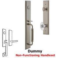Grandeur Door Hardware - Carre Full Plate Handleset - One-Piece Dummy Handleset with C Grip and Burgundy Knob in Satin Nickel