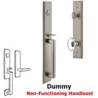 Grandeur Door Hardware - Carre Full Plate Handleset - One-Piece Dummy Handleset with D Grip and Provence Knob in Satin Nickel