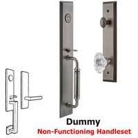 Grandeur Door Hardware - Fifth Avenue Full Plate Handleset - One-Piece Dummy Handleset with C Grip and Biarritz Knob in Satin Nickel