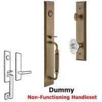 Grandeur Door Hardware - Fifth Avenue Full Plate Handleset - One-Piece Dummy Handleset with F Grip and Biarritz Knob in Satin Nickel