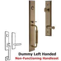 Grandeur Door Hardware - Fifth Avenue Full Plate Handleset - One-Piece Dummy Handleset with C Grip and Georgetown Left Handed Lever in Satin Nickel