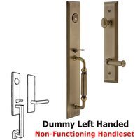 Grandeur Door Hardware - Fifth Avenue Full Plate Handleset - One-Piece Dummy Handleset with F Grip and Georgetown Left Handed Lever in Vintage Brass