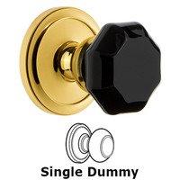 Grandeur Door Hardware - Circulaire - Privacy - Circulaire Rosette with Black Lyon Crystal Knob in Satin Nickel
