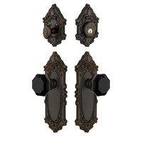 Grandeur Door Hardware - Grande Victorian - Grande Victorian Plate with Lyon Knob and matching Deadbolt in Timeless Bronze