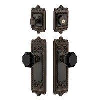 Grandeur Door Hardware - Windsor - Windsor Plate with Lyon Knob and matching Deadbolt in Timeless Bronze
