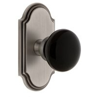 Grandeur Door Hardware - Arc - Privacy - Arc Rosette with Black Coventry Porcelain Knob in Satin Nickel