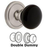 Grandeur Door Hardware - Circulaire - Privacy - Circulaire Rosette with Black Coventry Porcelain Knob in Satin Nickel