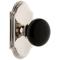 Grandeur Door Hardware - Arc - Privacy - Arc Rosette with Black Coventry Porcelain Knob in Satin Nickel