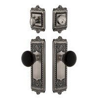 Grandeur Door Hardware - Windsor - Arc Plate with Coventry Knob and matching Deadbolt in Antique Pewter