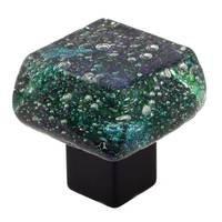 "Grace White Glass Hardware - Bold and Bright - 1 3/8"" Peacock Lake Knob"