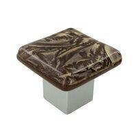 "Grace White Glass Hardware - Sparklers - 1 1/4"" Gold Frost Knob"