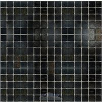 "HotGlass - Tivoli - 3/4"" Glass Tile in Black Gold Blend 12 7/8"" x 12 7/8"" Mesh Backed Sheet"