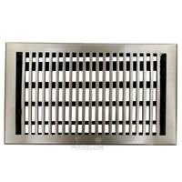 "Hamilton Sinkler - Flat Floor Registers - Solid Bronze 8"" x 14"" Flat Floor Register with Louver in Brushed Nickel"